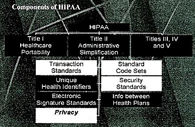This 2001 graphic from the Oregon Medical Association of some of the facets of HIPAA illustrates the complexity of this new government system.  The most important area of HIPAA relating to email communication is privacy.
